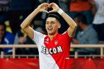 AS Monaco's Ocampos reacts after scoring against St Etienne while teammate Falcao looks on during their French Ligue 1 soccer match in Monaco